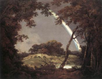 Joseph Wright Of Derby : Landscape with Rainbow